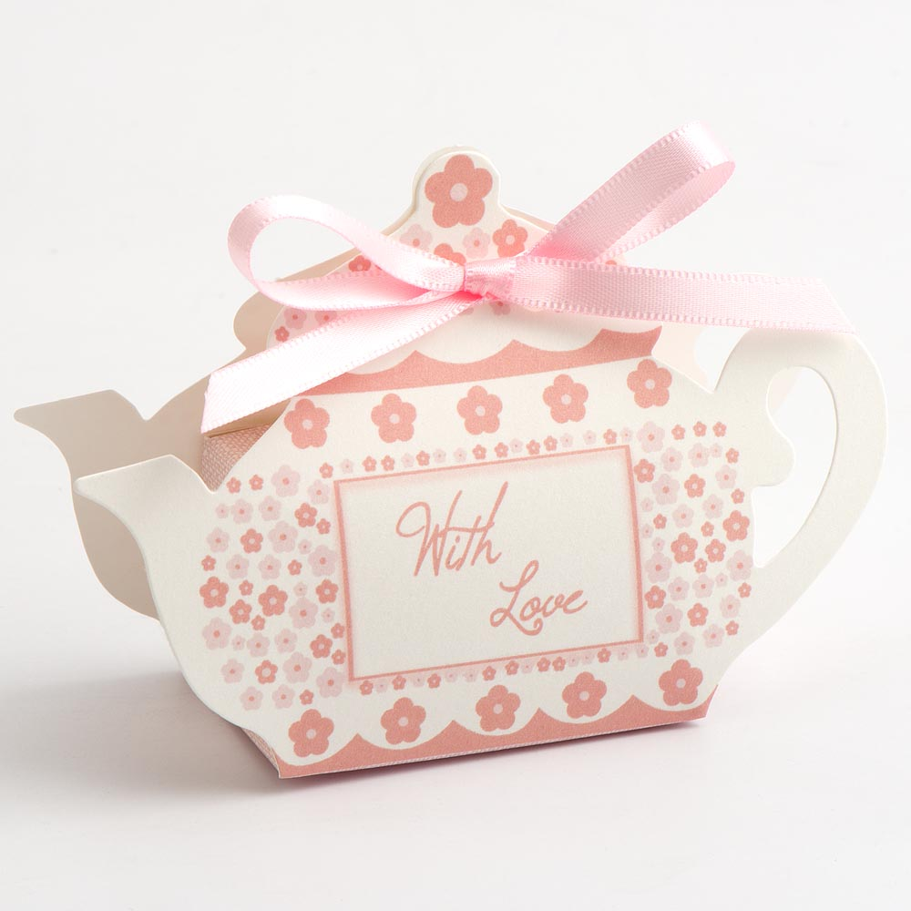 Pink 'With Love' Tea Pot Favour Box