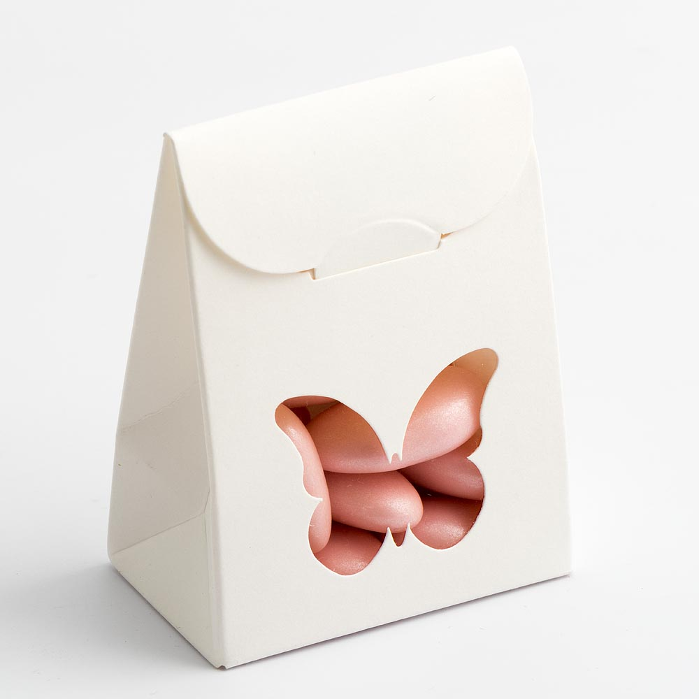 Powder White Sacchetto with Butterfly Shaped Window Favour Box