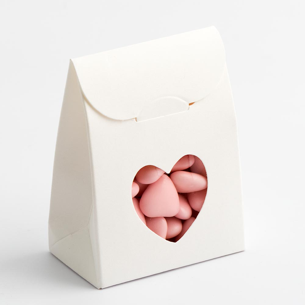 Powder White Sacchetto with Heart Shaped Window Favour Box