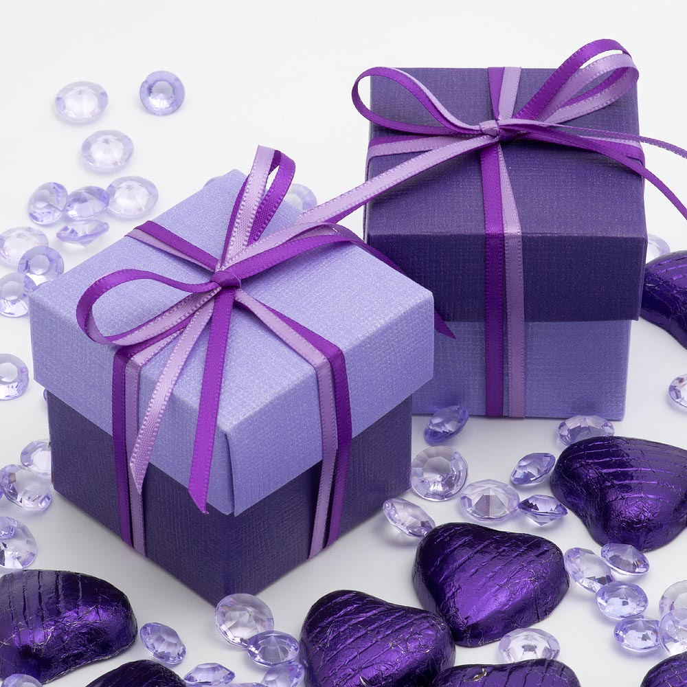 Purple & Lilac Two Tone Square Box and Lid