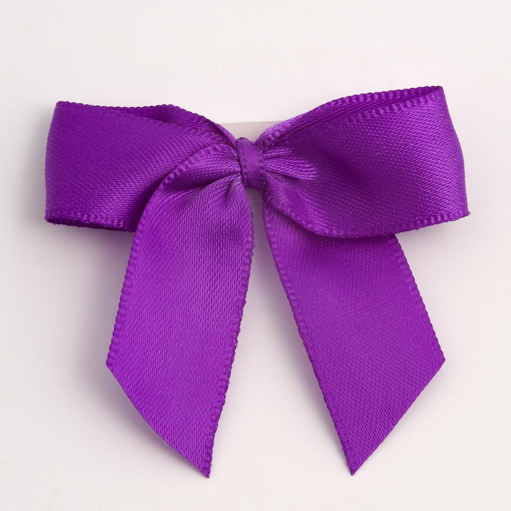 Purple Satin Bows 12 Pack