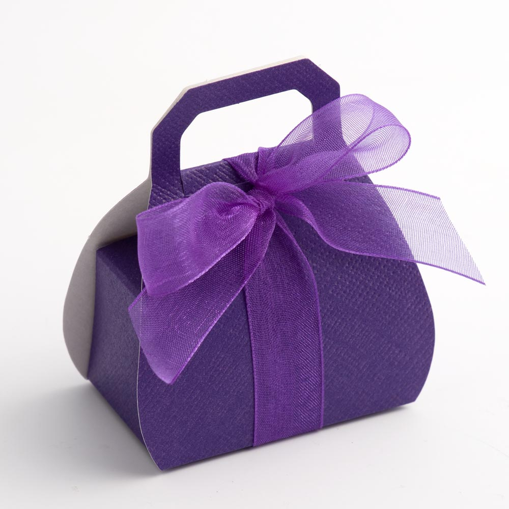 Purple Silk Handbag Favour Box