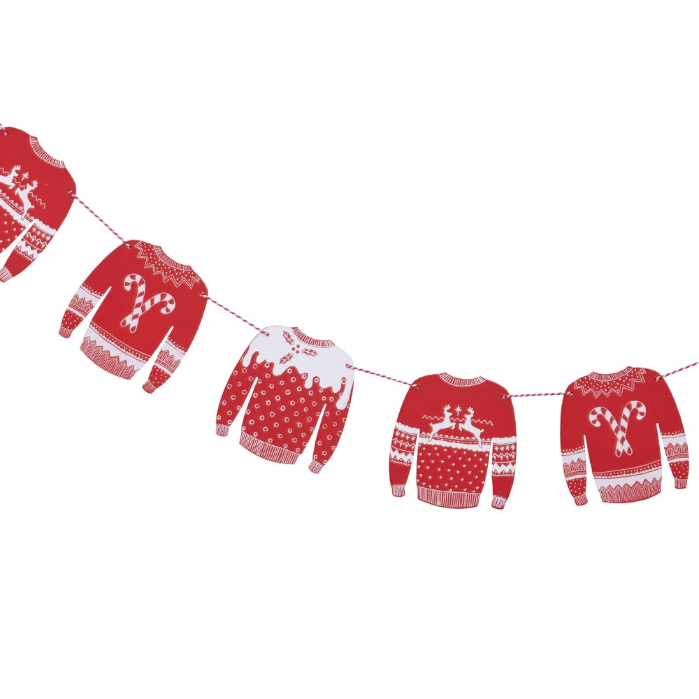 Red And White Christmas Jumper Wooden Bunting