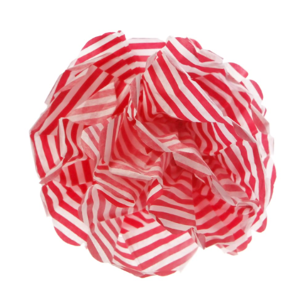 Red Candy Stripe Pom Pom