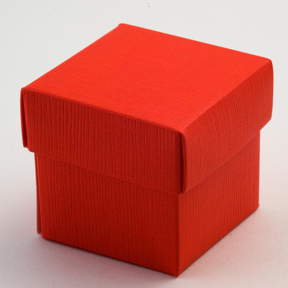 Red Silk Square Favour Box with Lid