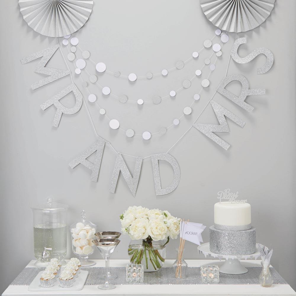 Silver Glitter Mr & Mrs Wedding Bunting
