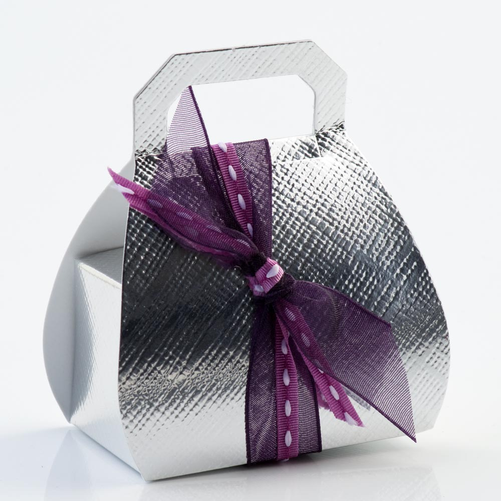 Silver Silk Handbag Favour Box