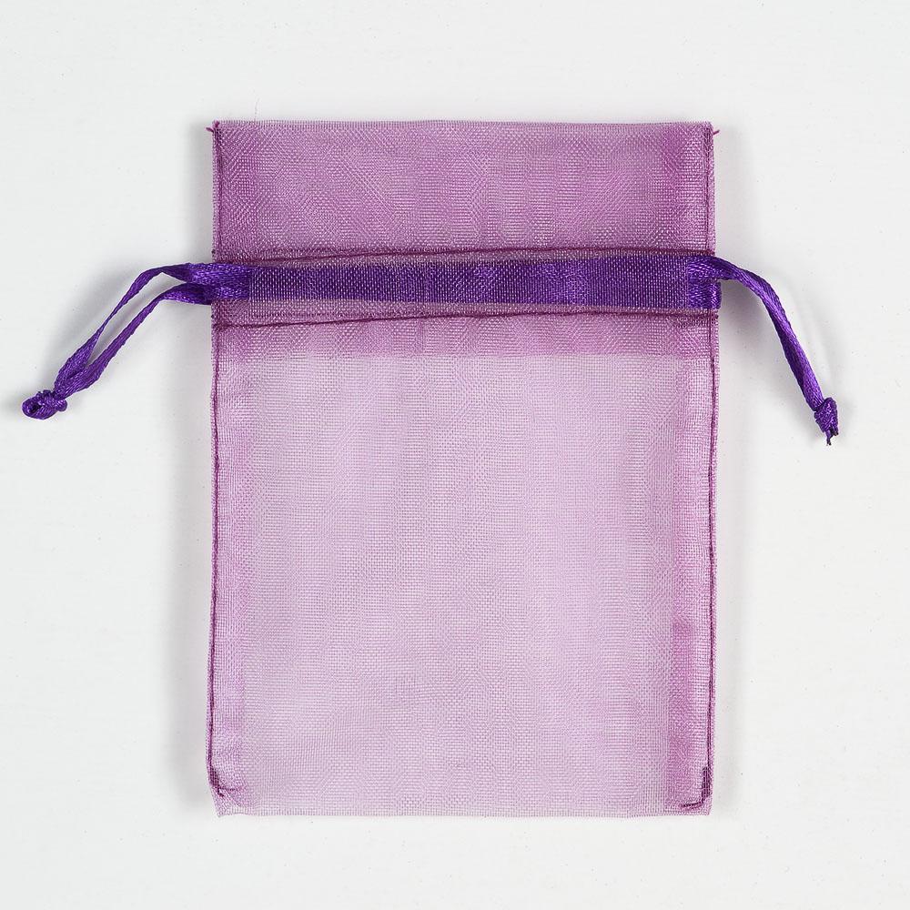 Small Aubergine Organza Favour Bag