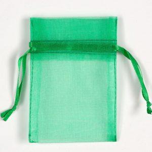 Small Bright Emerald Organza Favour Bag