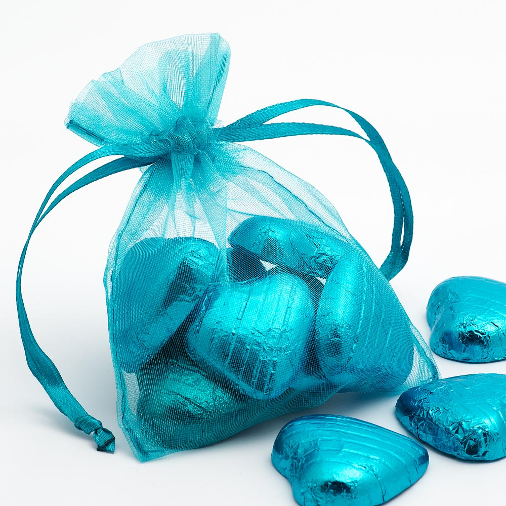 Small Turquoise Organza Favour Bag
