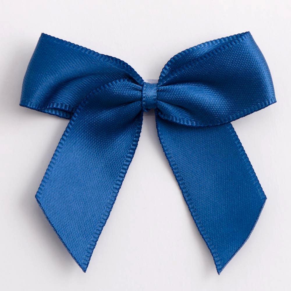 Smoke Blue Satin Bows 12 Pack