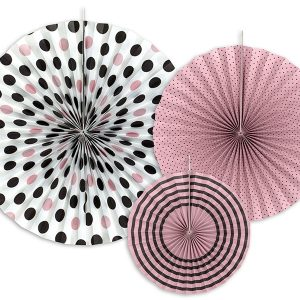 Spots & Stripes Fan Pinwheel Decorations