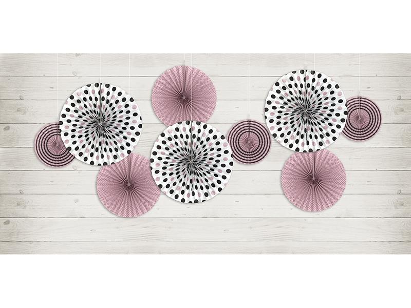 Spots & Stripes Fan Pinwheel Decorations