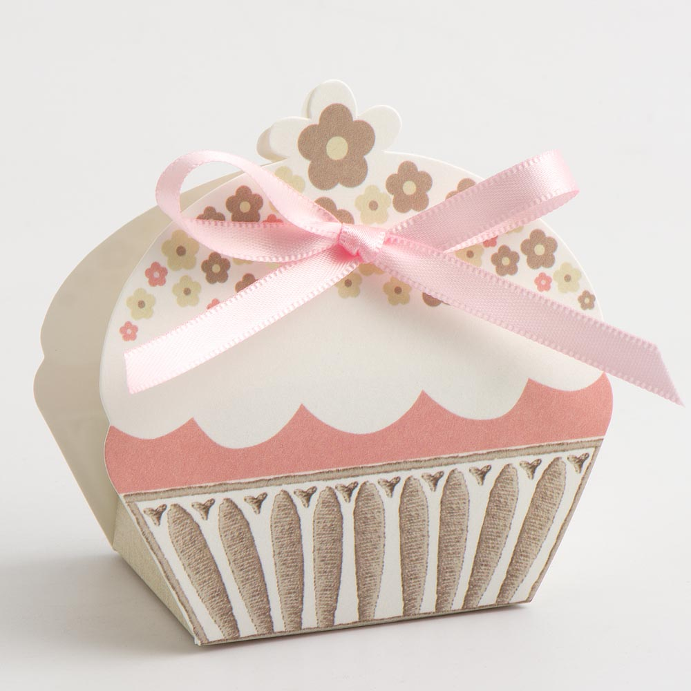 Taupe 'With Love' Cupcake Favour Box