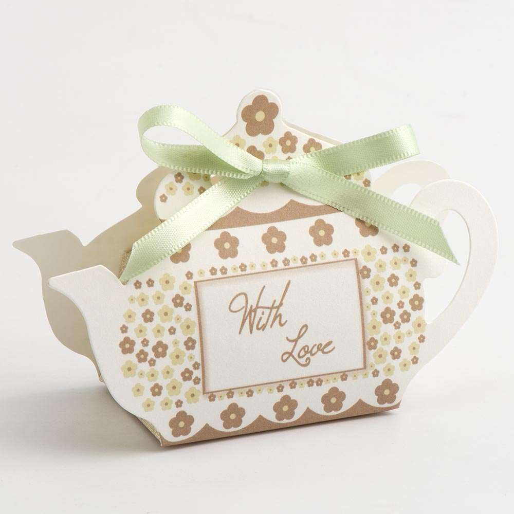 Taupe 'With Love' Tea Pot Favour Box
