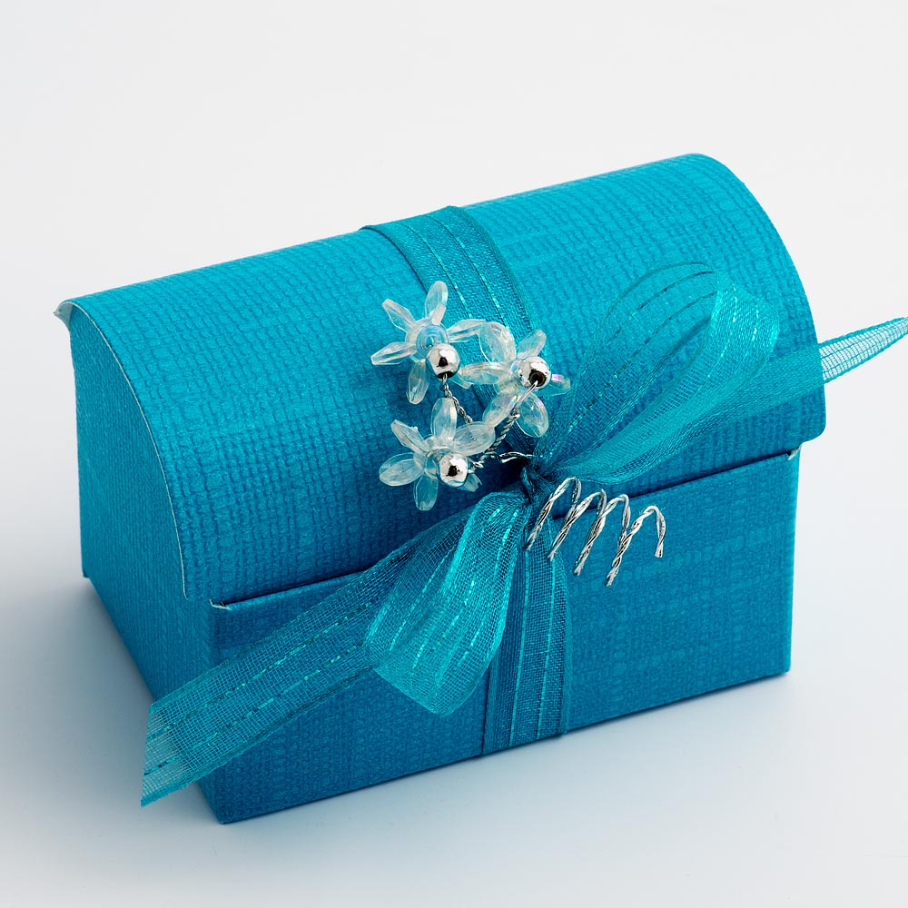Turquoise Silk Cofanetto Favour Box