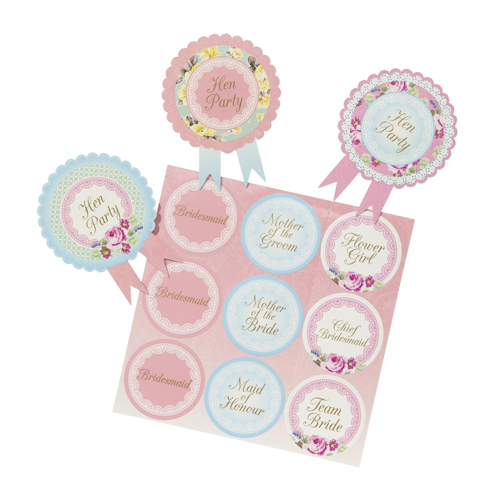Vintage Hen Party Rosette Badges
