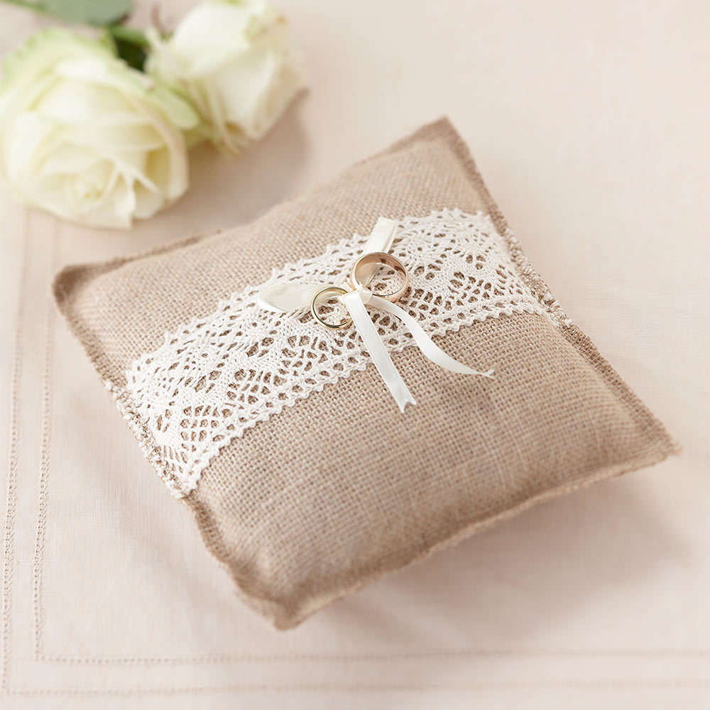 Vintage Hessian Ring Cushion