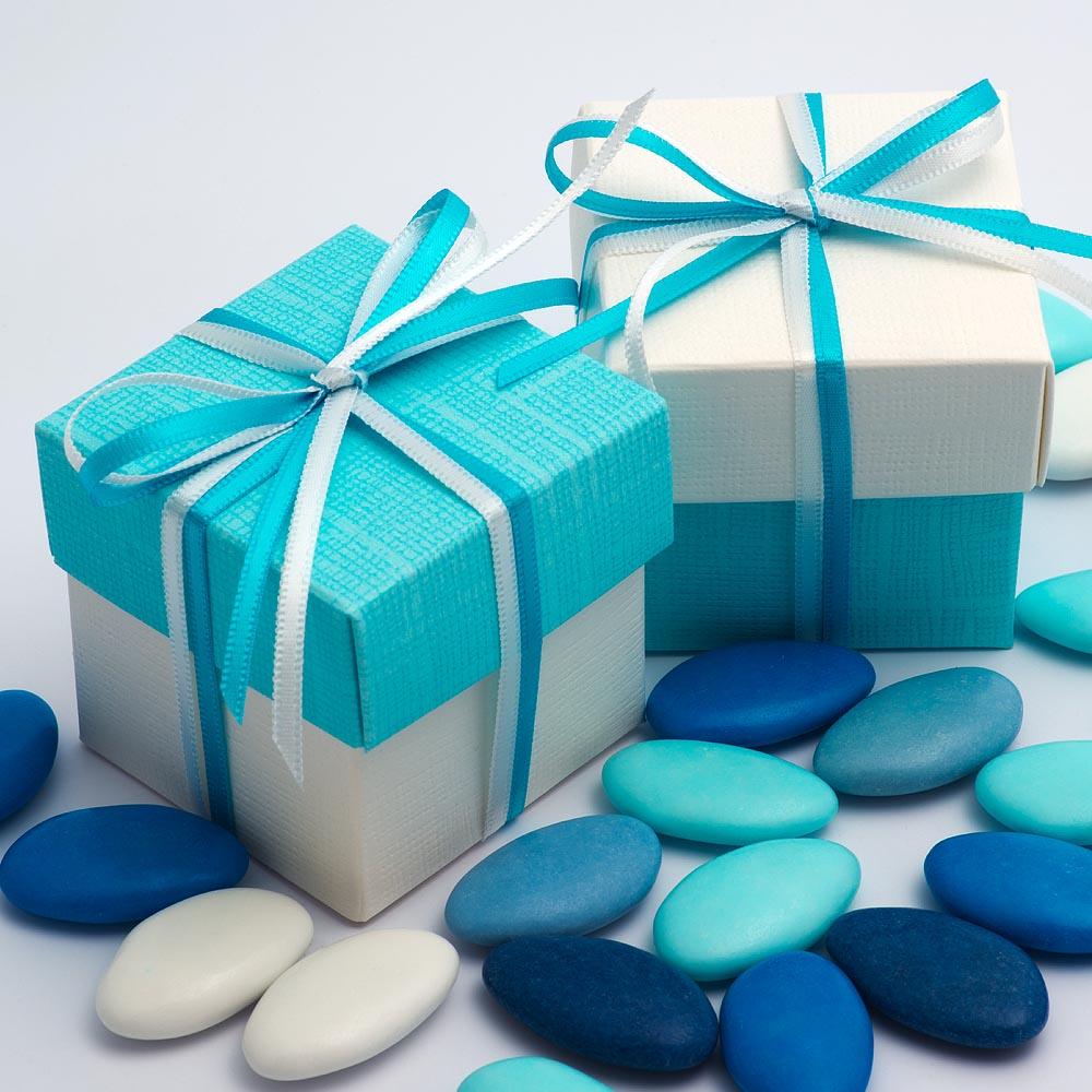 White & Celeste Blue Silk Two Tone Square Box and Lid