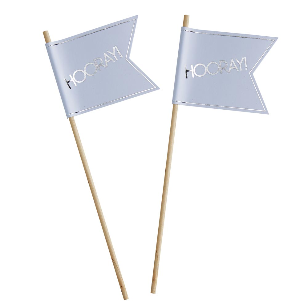 White & Silver Foiled Wedding Flags