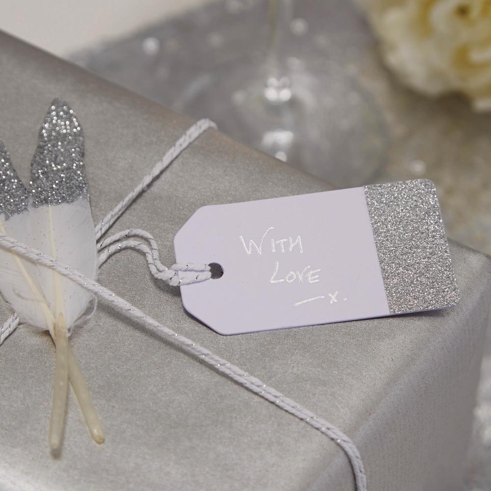 White & Silver Glitter Luggage Name Tags