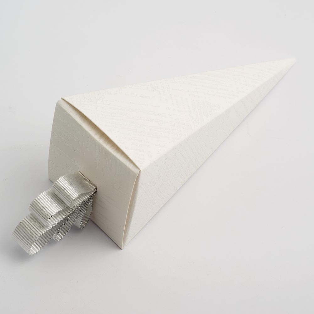 White Linen Cone Favour Box
