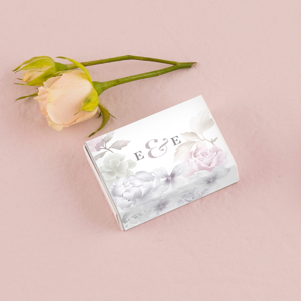 White Matchbox Favour Box with Floral Personalised Wrap x 8