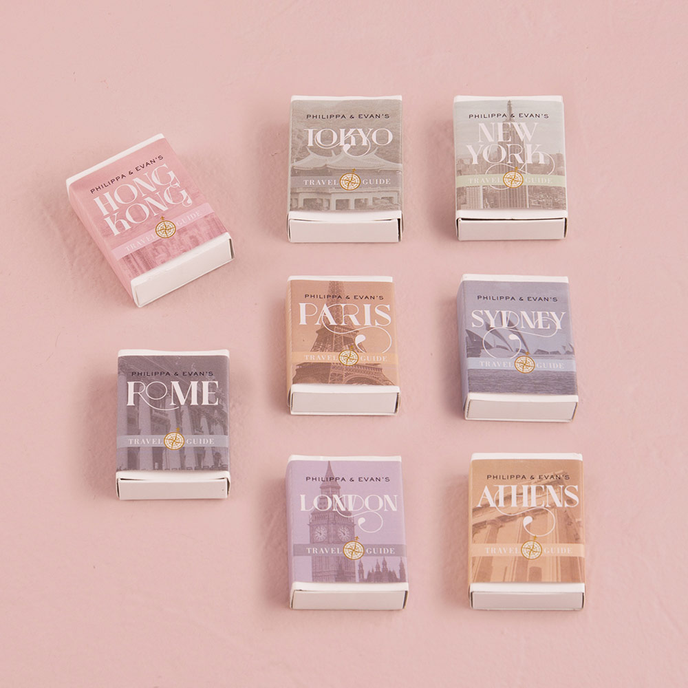 White Matchbox with With Vintage Travel Personalised Wrap x 8