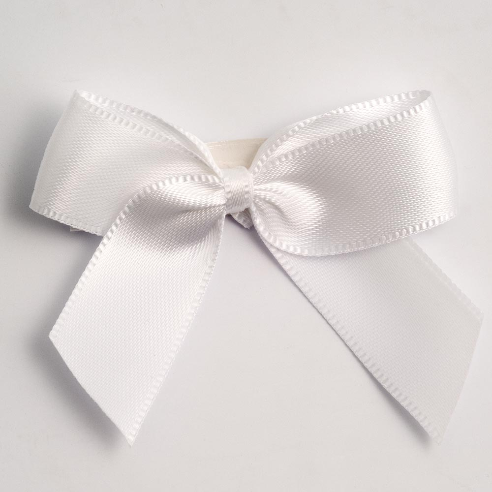 White Satin Bows 12 Pack