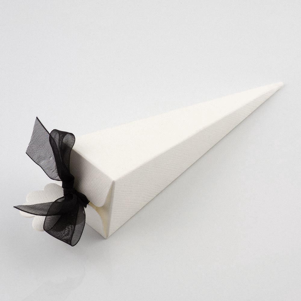 White Silk Cone Favour Box