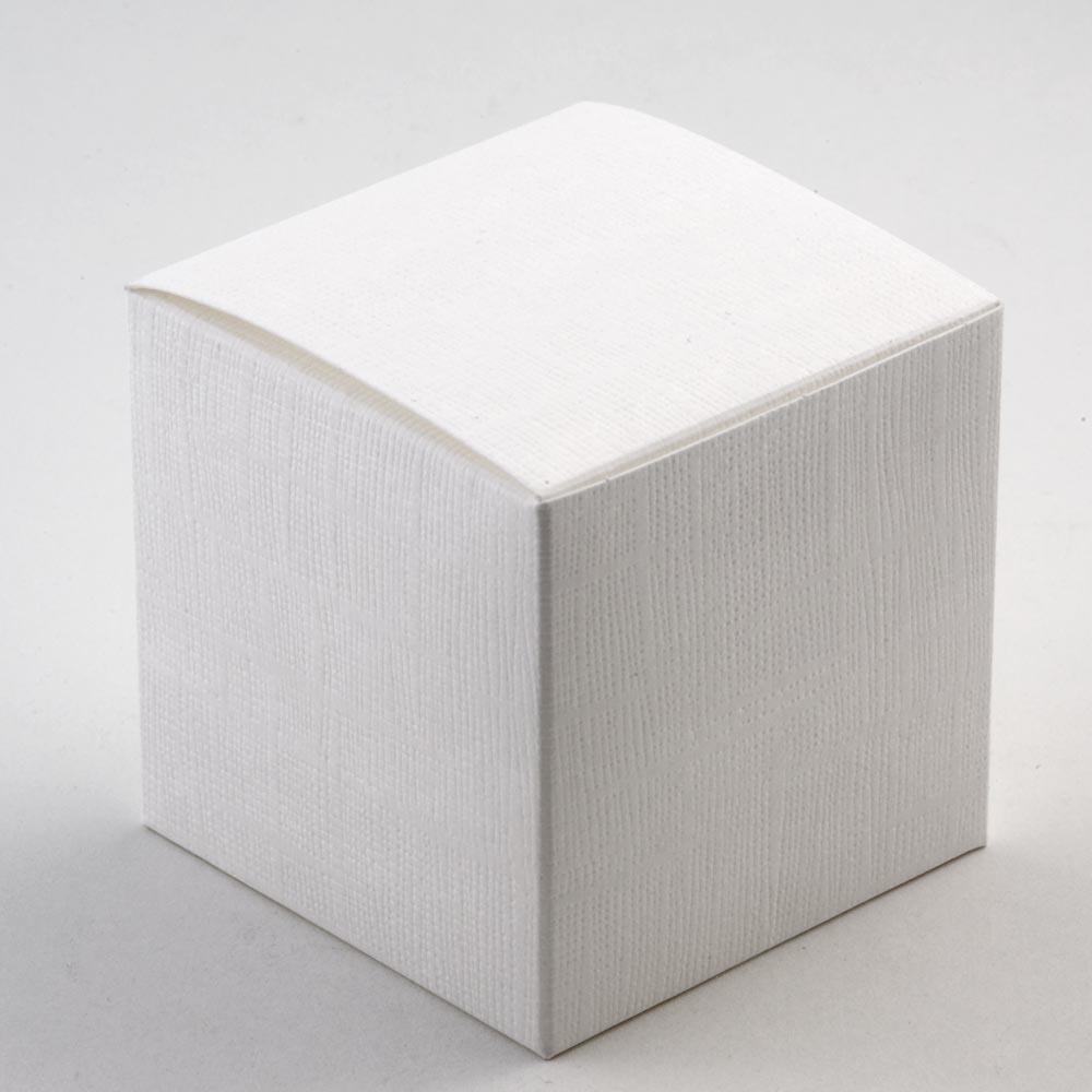 White Silk Cube Favour Box - 70MM