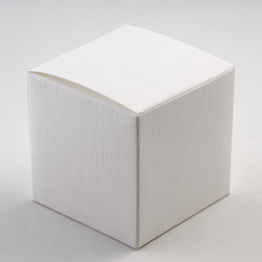 White Silk Cube Favour Box - 80MM