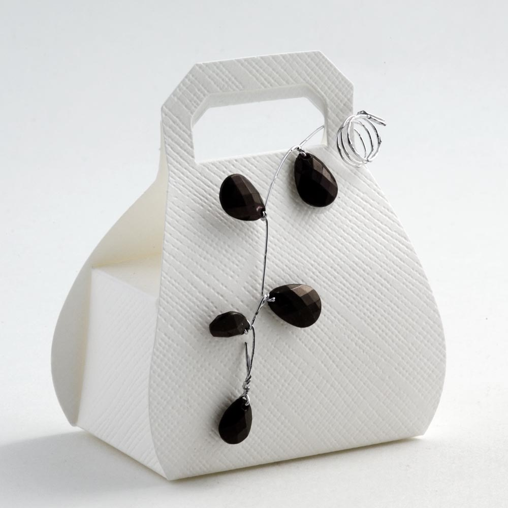 White Silk Handbag Favour Box