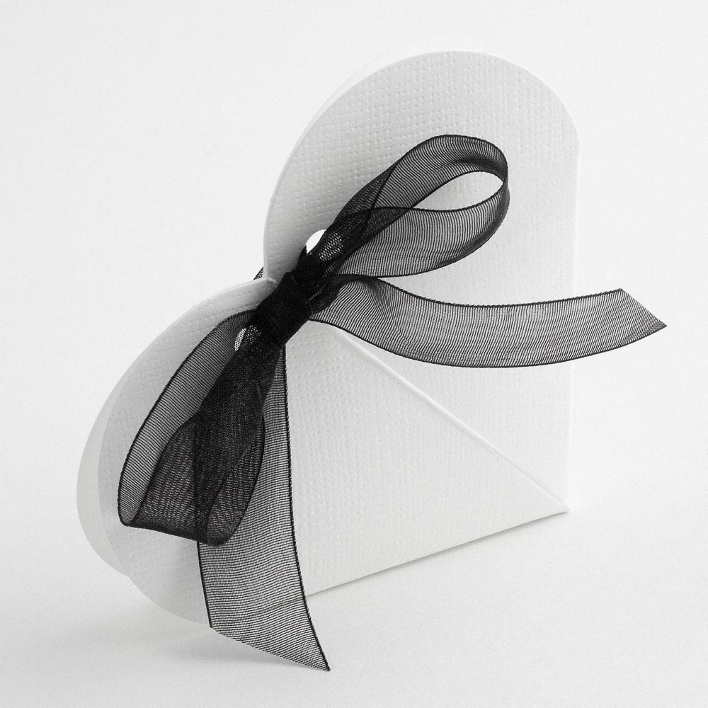 White Silk Heart Favour Box