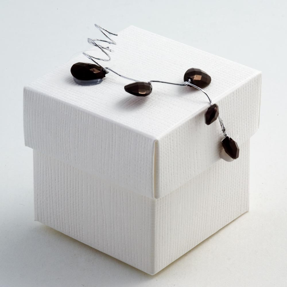 White Silk Square Favour Box with Lid
