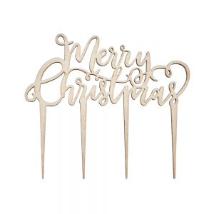 Wooden Merry Christmas Cake Topper