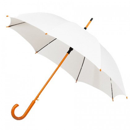Wooden Stick Umbrella - White