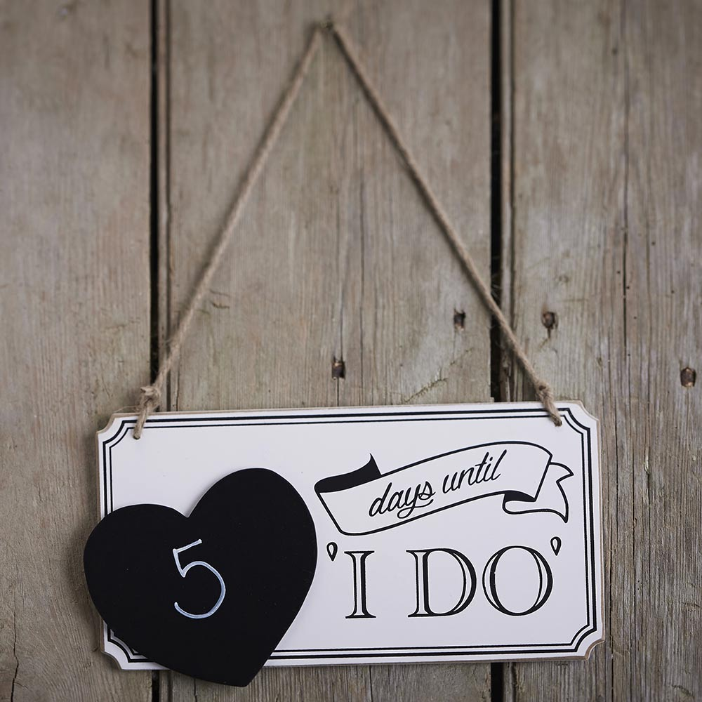 Wooden Wedding Countdown Chalkboard Sign