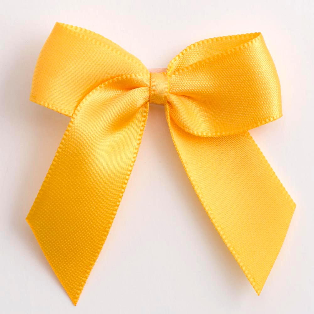 Yellow Gold Satin Bows 12 Pack