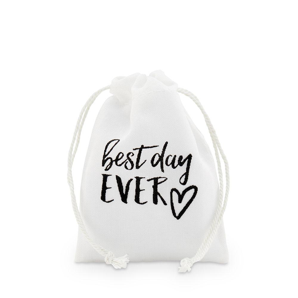 """best day ever"" Print Muslin Favour Bags - Small"