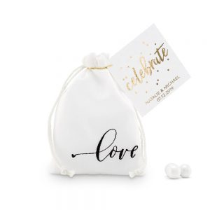 """love"" Print Muslin Favour Bags - Small"