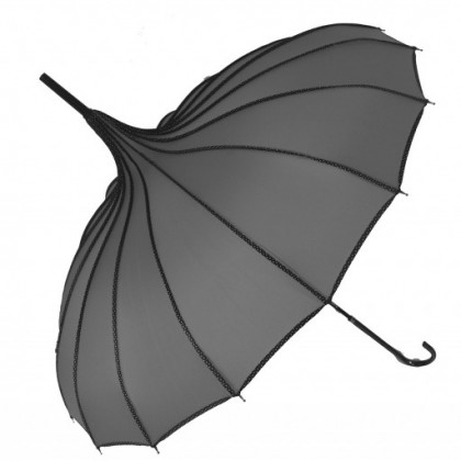 Ribbed Grey Pagoda Umbrella