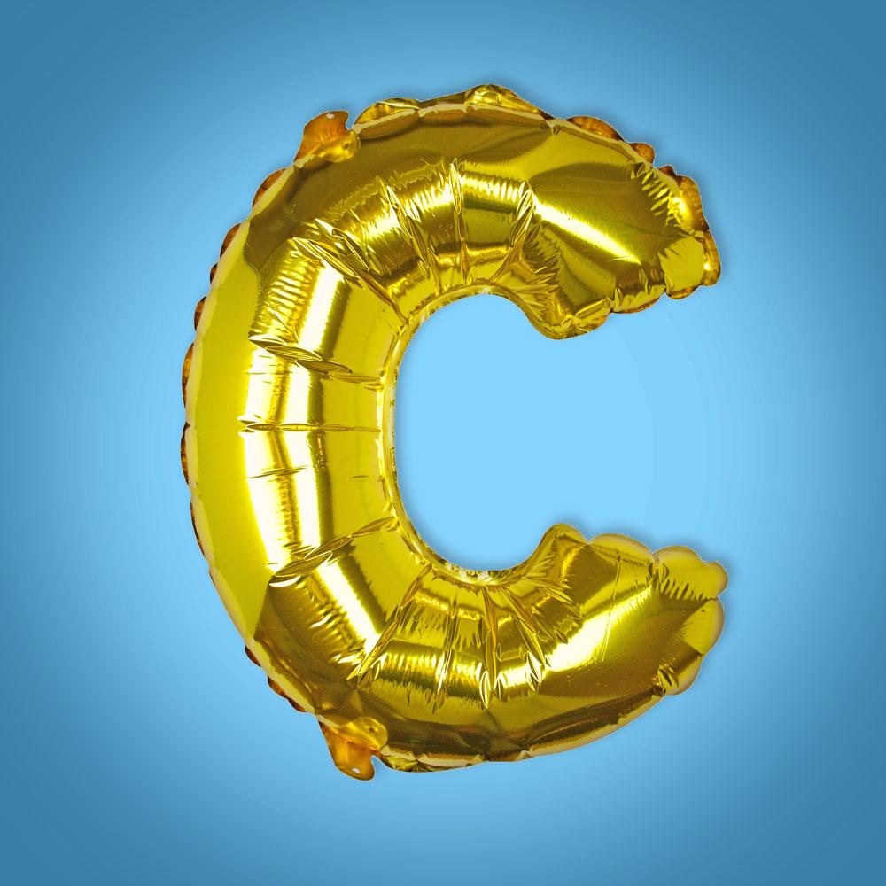 Gold Foil Letter 'C' Balloon
