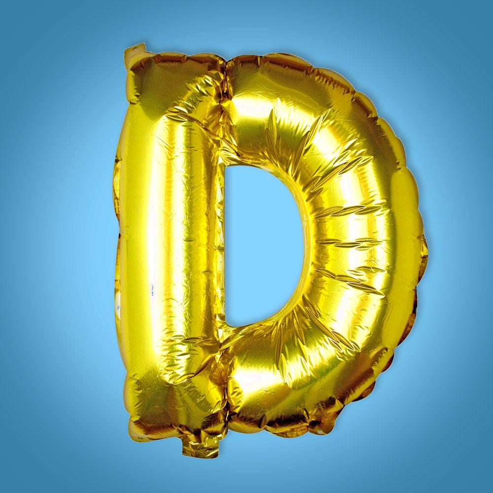 Gold Foil Letter 'D' Balloon