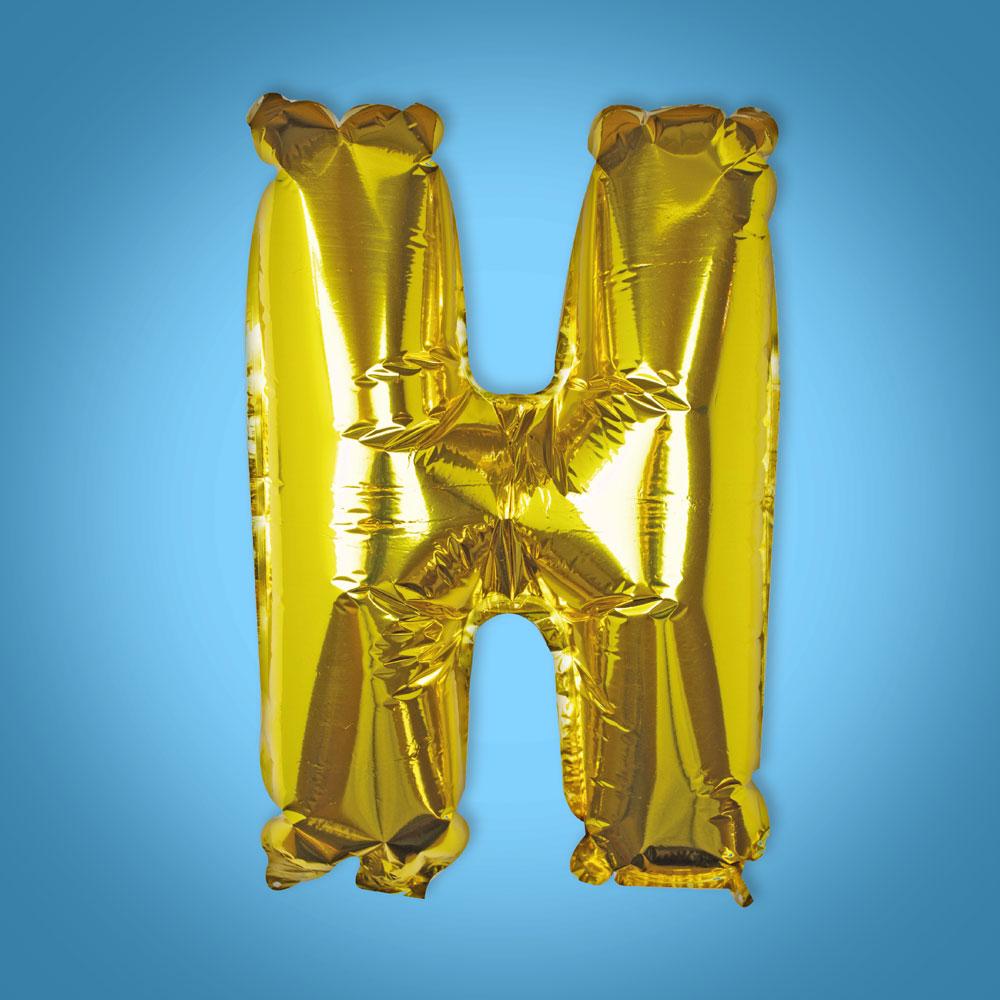 Gold Foil Letter 'H' Balloon