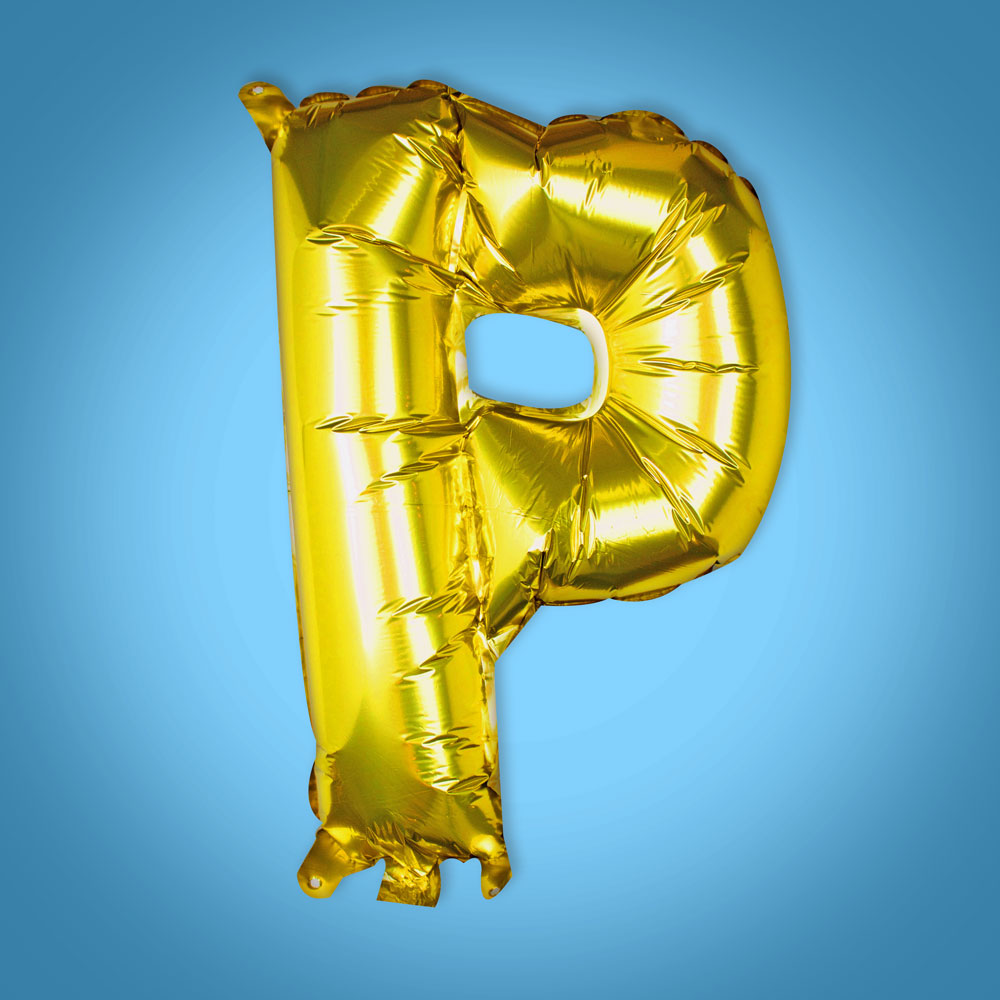 Gold Foil Letter 'P' Balloon