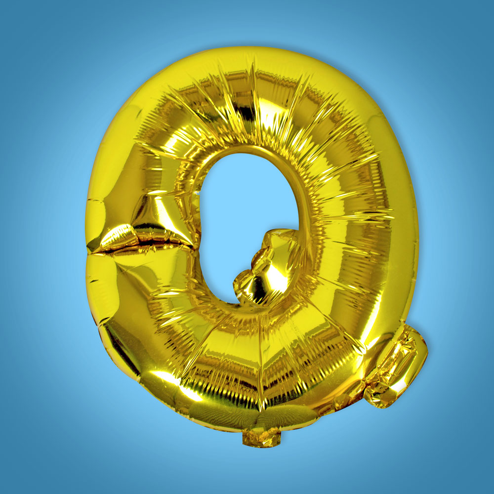 Gold Foil Letter 'Q' Balloon