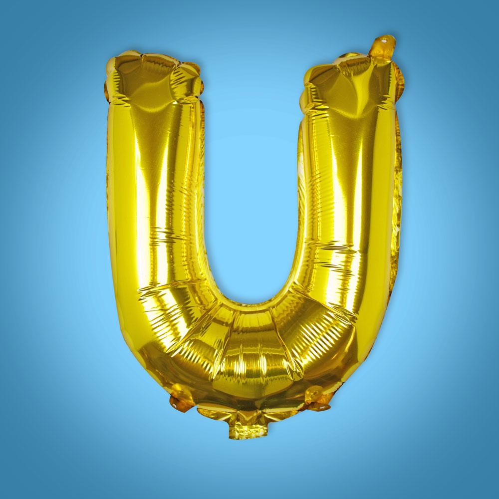 Gold Foil Letter 'U' Balloon