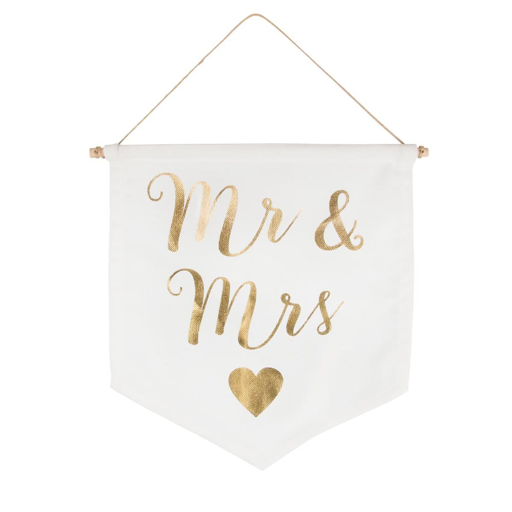 Mr & Mrs Gold Banner Flag