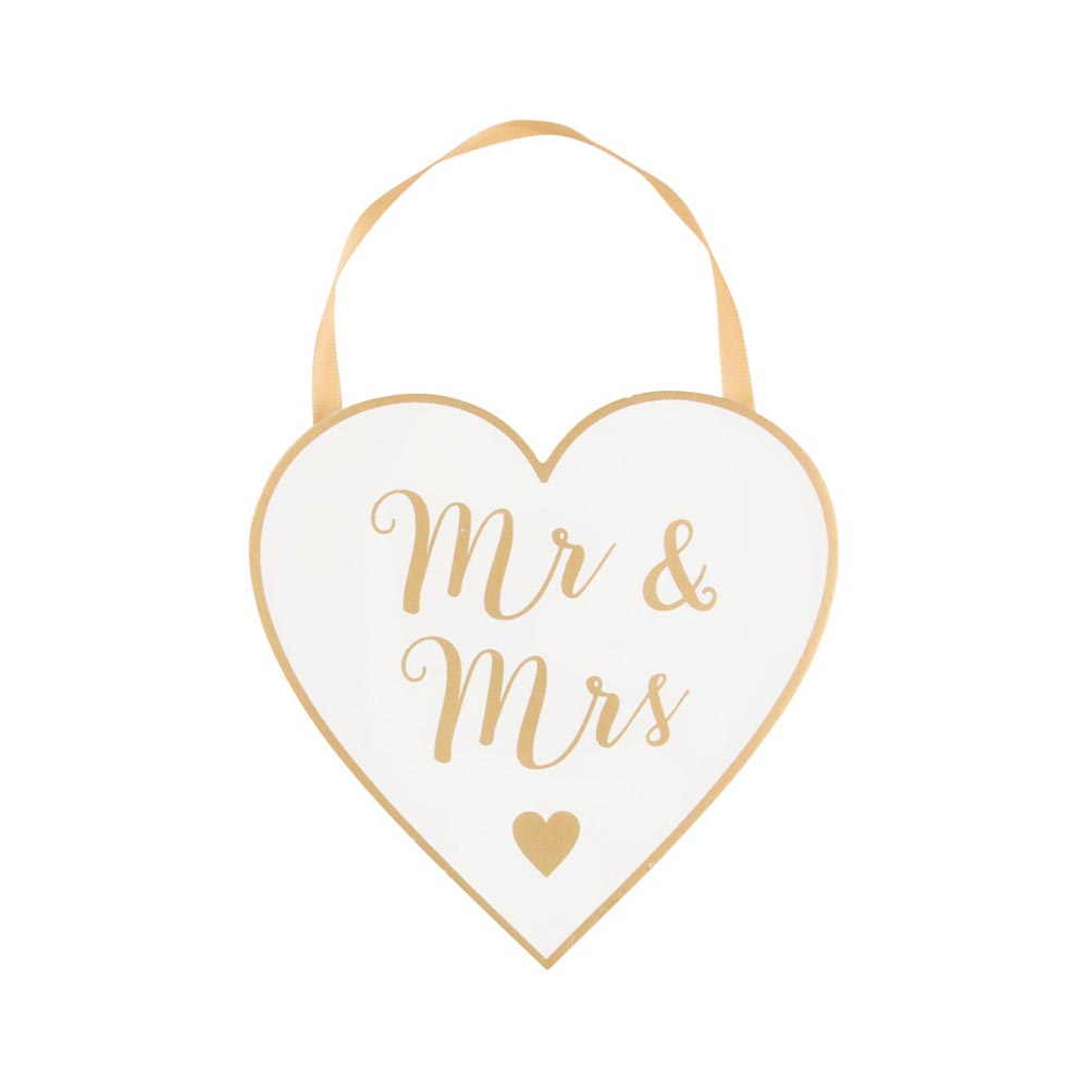 Wooden Gold Mr & Mrs Heart Plaque